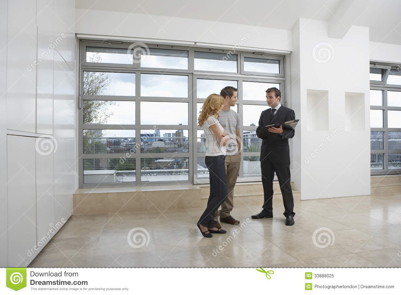 Couple Apartments Real Estate Agent Showing Couple New Apartment Stock Image