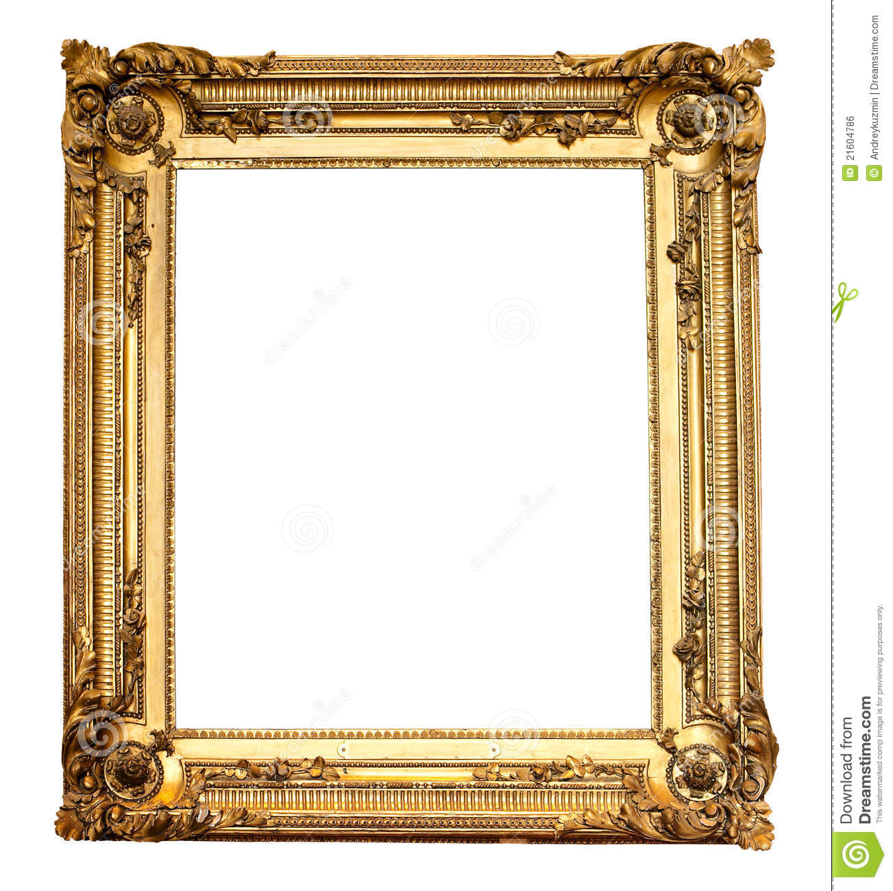A5 Fotolijst Real Old Antique Gold Frame Isolated Royalty Free Stock