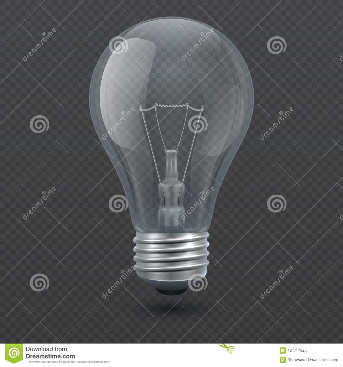 Glass Lamp Vector Realistic 3d Light Bulb Vector Illustration Isolated On