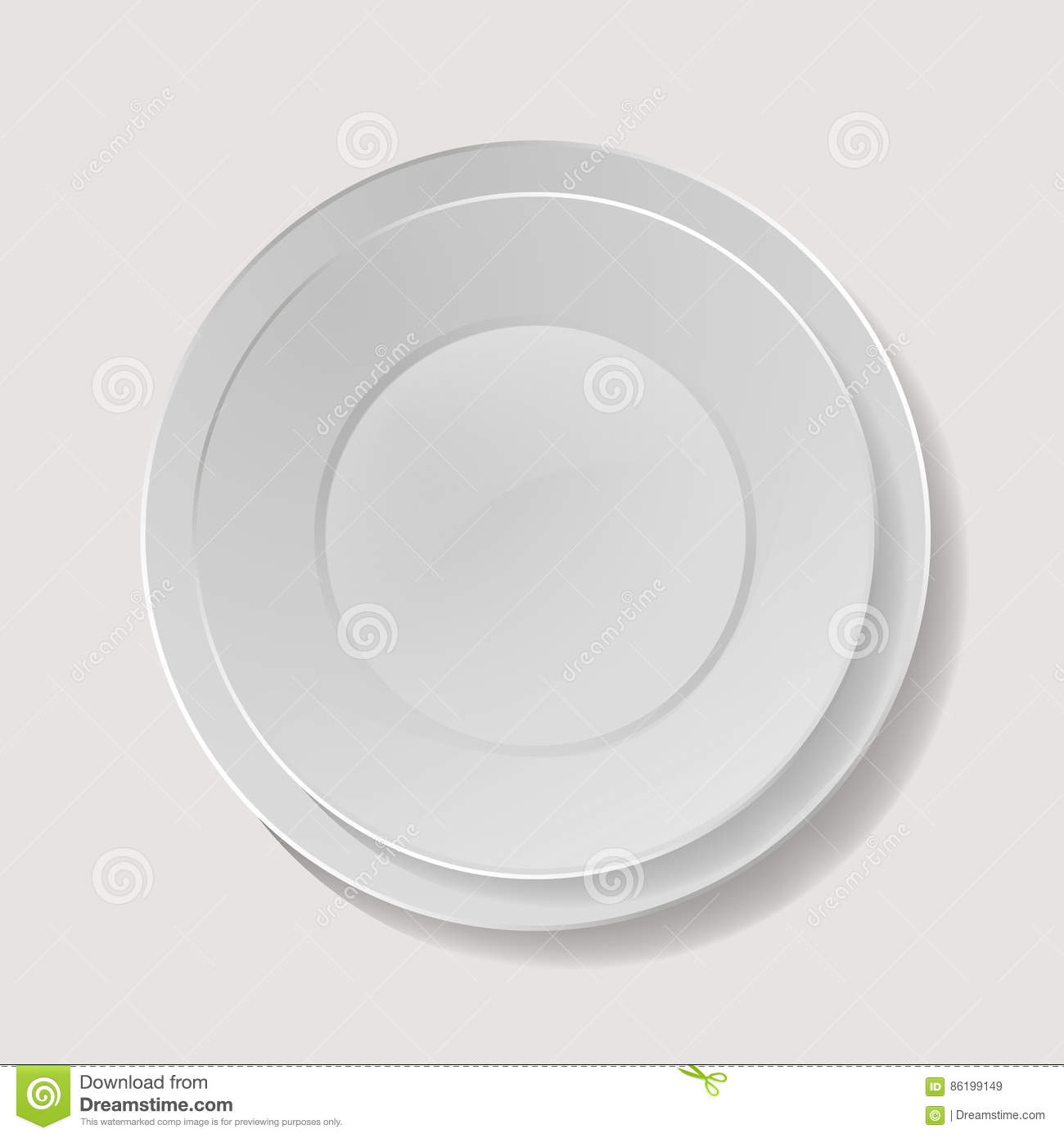 Plate With Food Top View Realistic Plate Vector Closeup Porcelain Mock Up