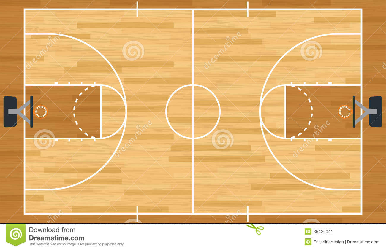 Plan En Ligne 2d Realistic Vector Basketball Court Stock Vector