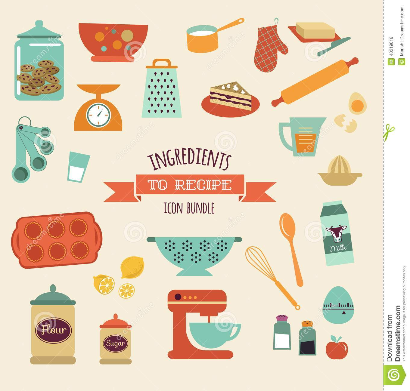 Poster Küche Retro Recipe And Kitchen Vector Design Icon Set Stock Vector