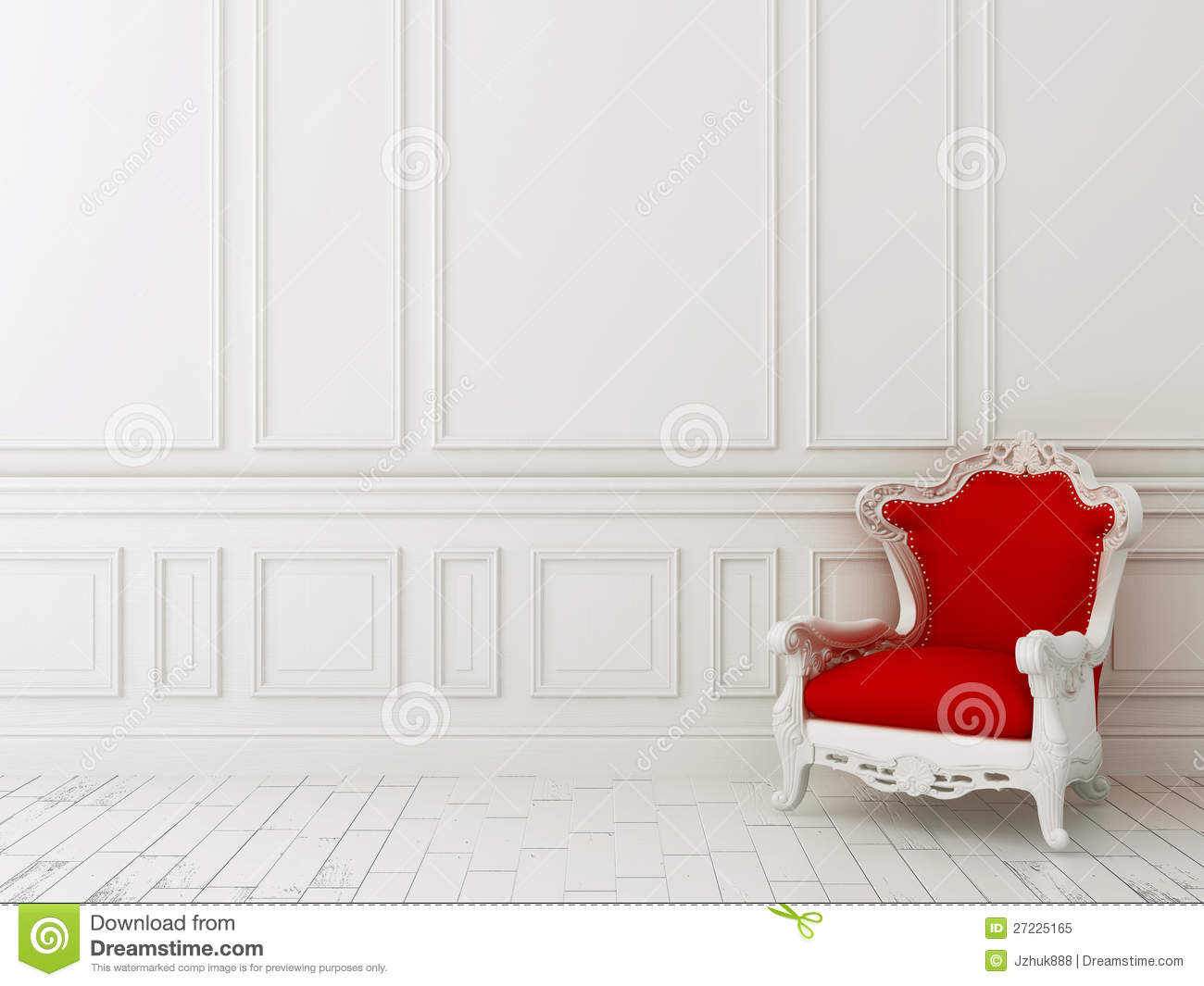 3d Wallpaper For Interior Decoration Red Chair Against A White Wall Stock Image Image Of Home