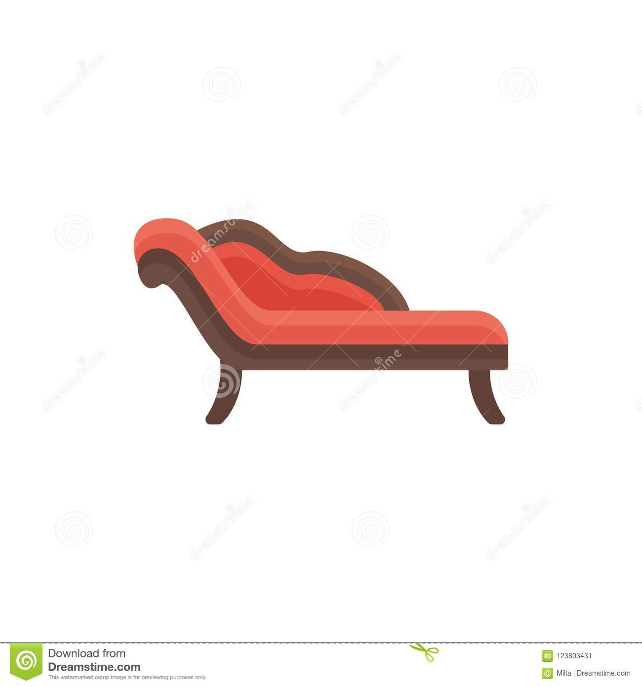 Chaiselongue Modern Red Chaise Lounge Sofa Vector Illustration Flat Icon Of Settee