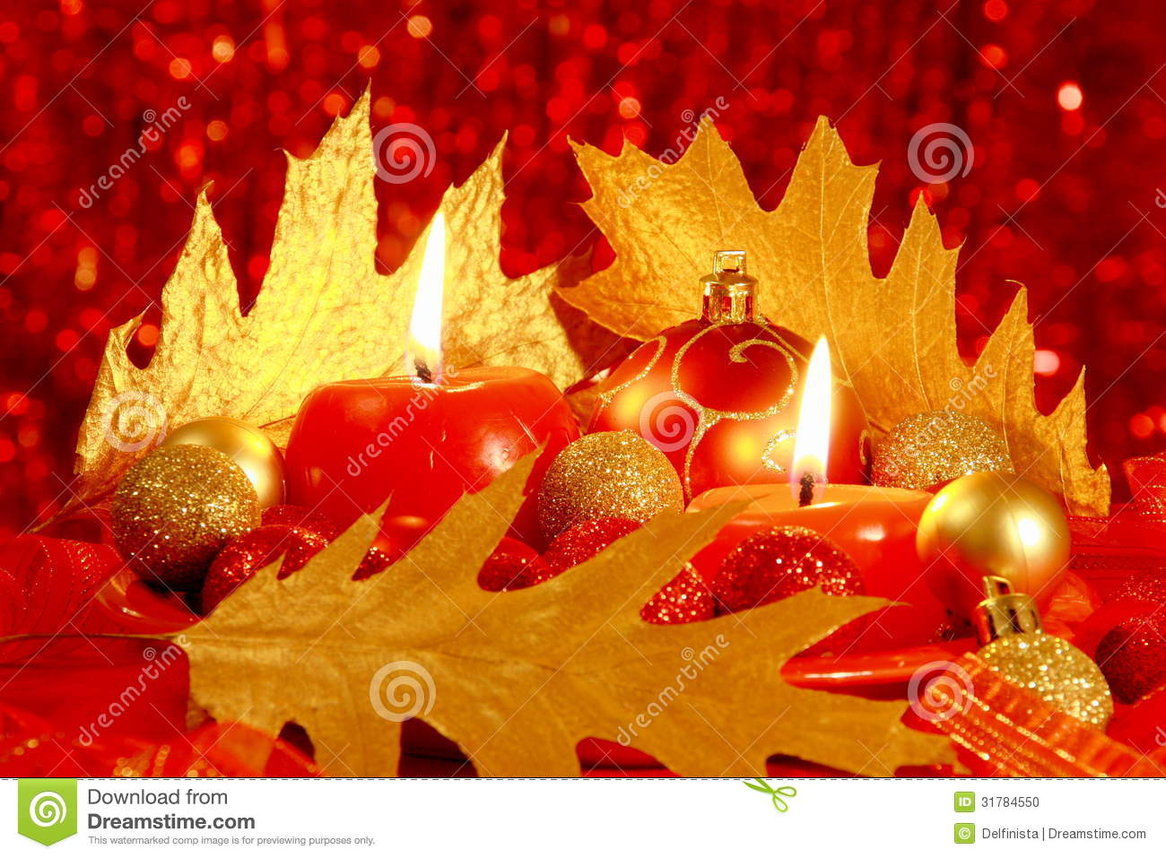Fall And Thanksgiving Wallpaper Red Christmas Card Balls Amp Candles Stock Photos Stock