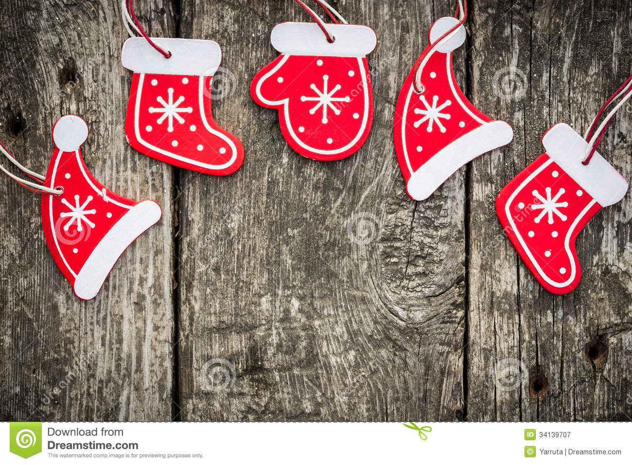 Red christmas tree decorations on grunge wood royalty free