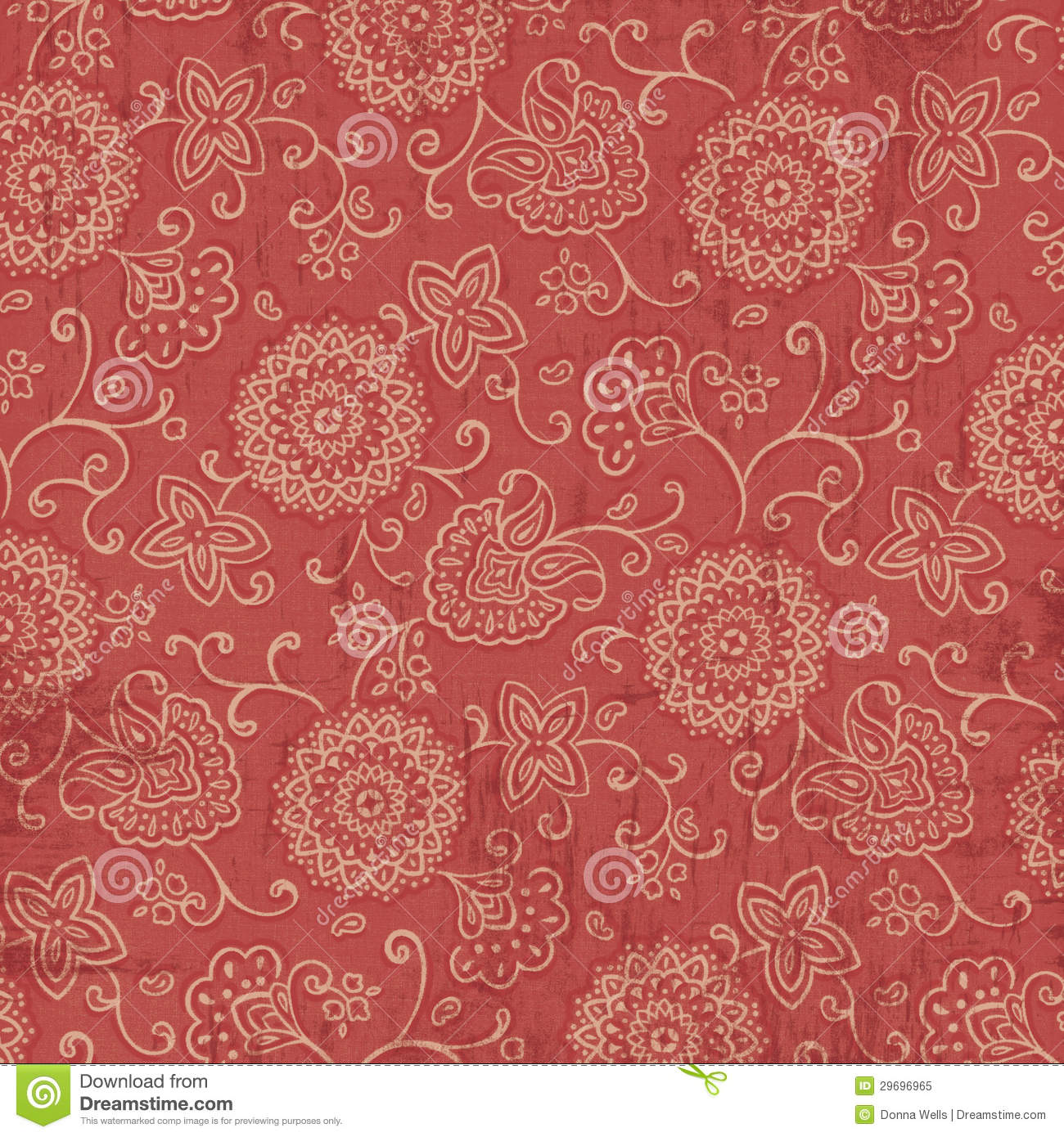 Cute Word Wallpaper Red And Cream Bandana Fabric Background Stock Illustration