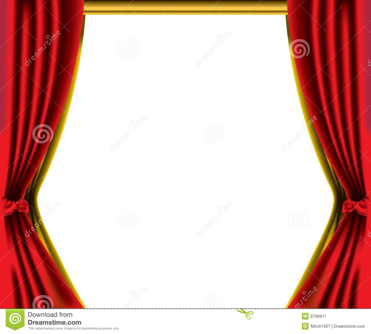 Curtain Fabric Red Curtain Border Stock Illustration. Image Of Cloth