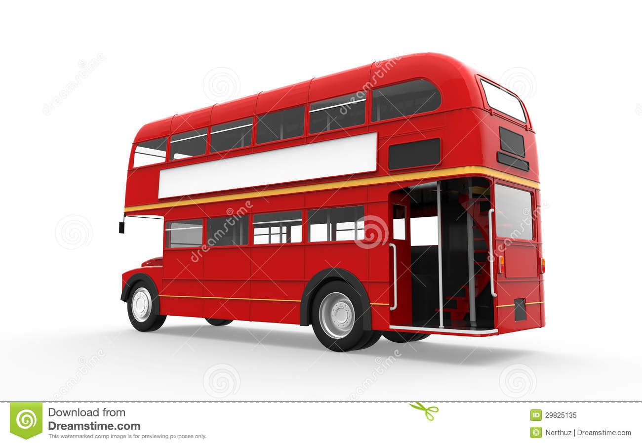 red double decker bus isolated on white background stock