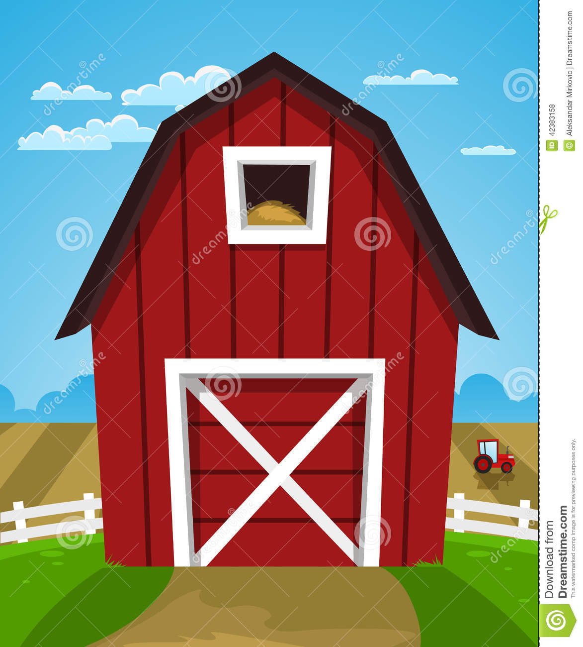 Red Farmhouse Drawing Red Farm Barn Stock Vector Image 42383158