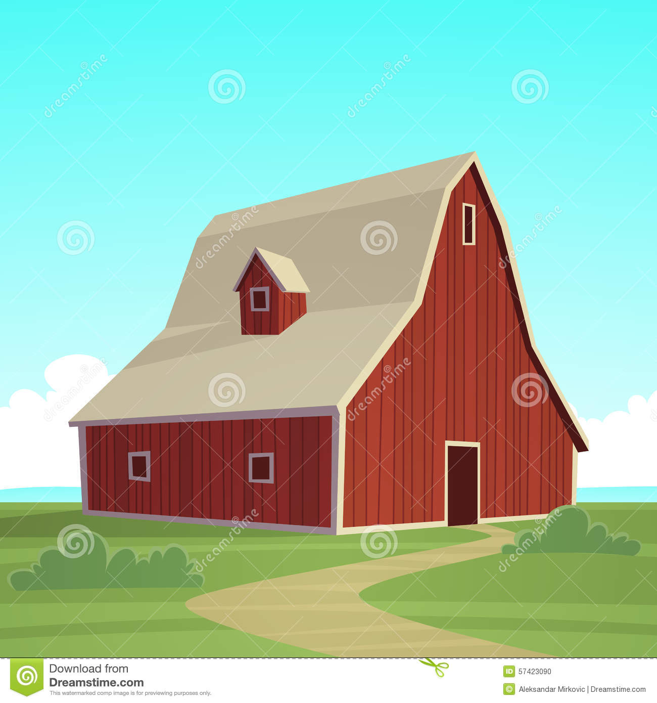 Red Farmhouse Drawing Red Farm Barn Stock Vector Image 57423090