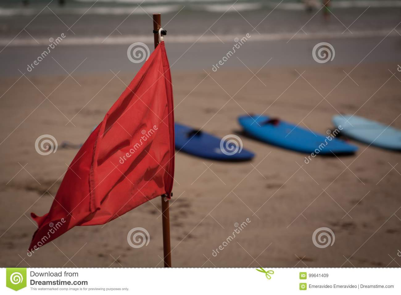 Flapon Red Flag Flap On The Beach Stock Image Image Of Seashore 99641409