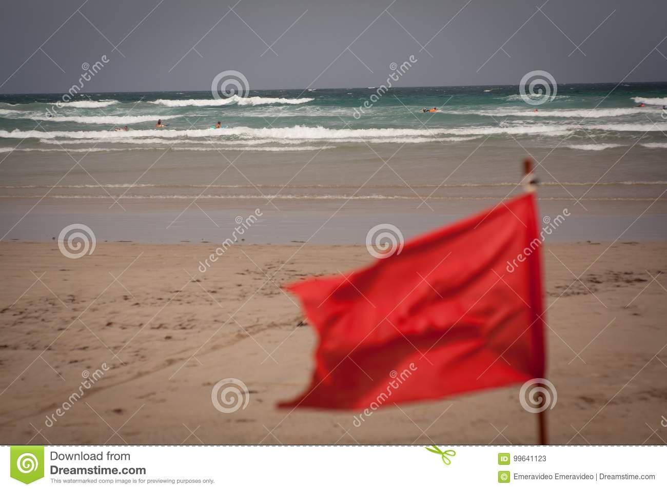 Flapon Red Flag Flap On The Beach Stock Image Image Of Seashore 99641123