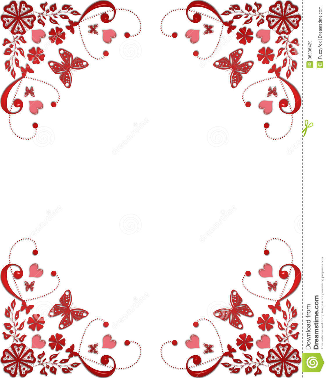 Falling Cherry Blossom Wallpaper Hd Red Frame Floral Border With Butterflies And Hearts