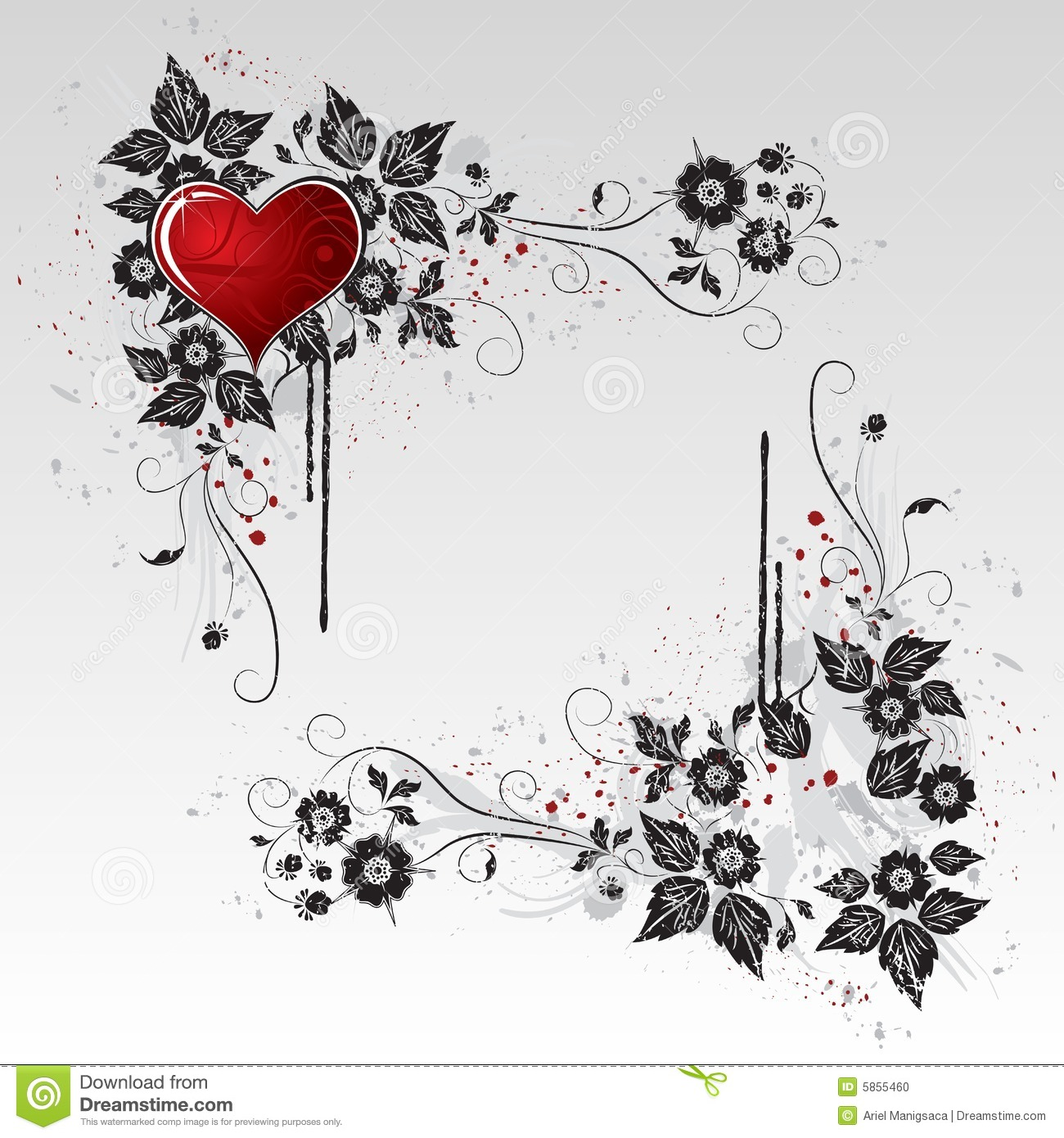 Valentines Day 3d Wallpaper Red Heart And Black Vines And Leaves Stock Photo Image