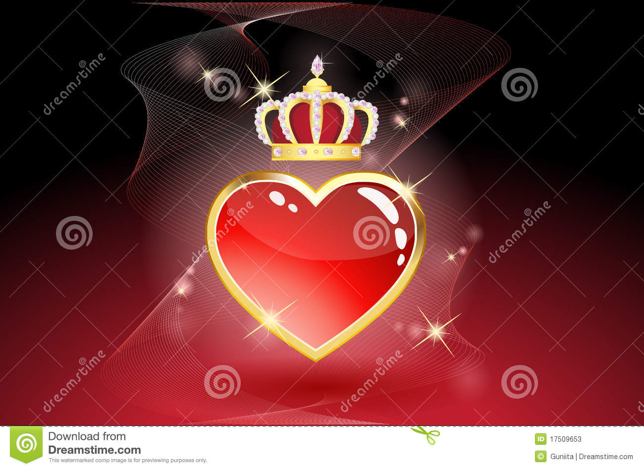 Black Wallpaper Border Red Heart With Crown Stock Illustration Image Of Graphic