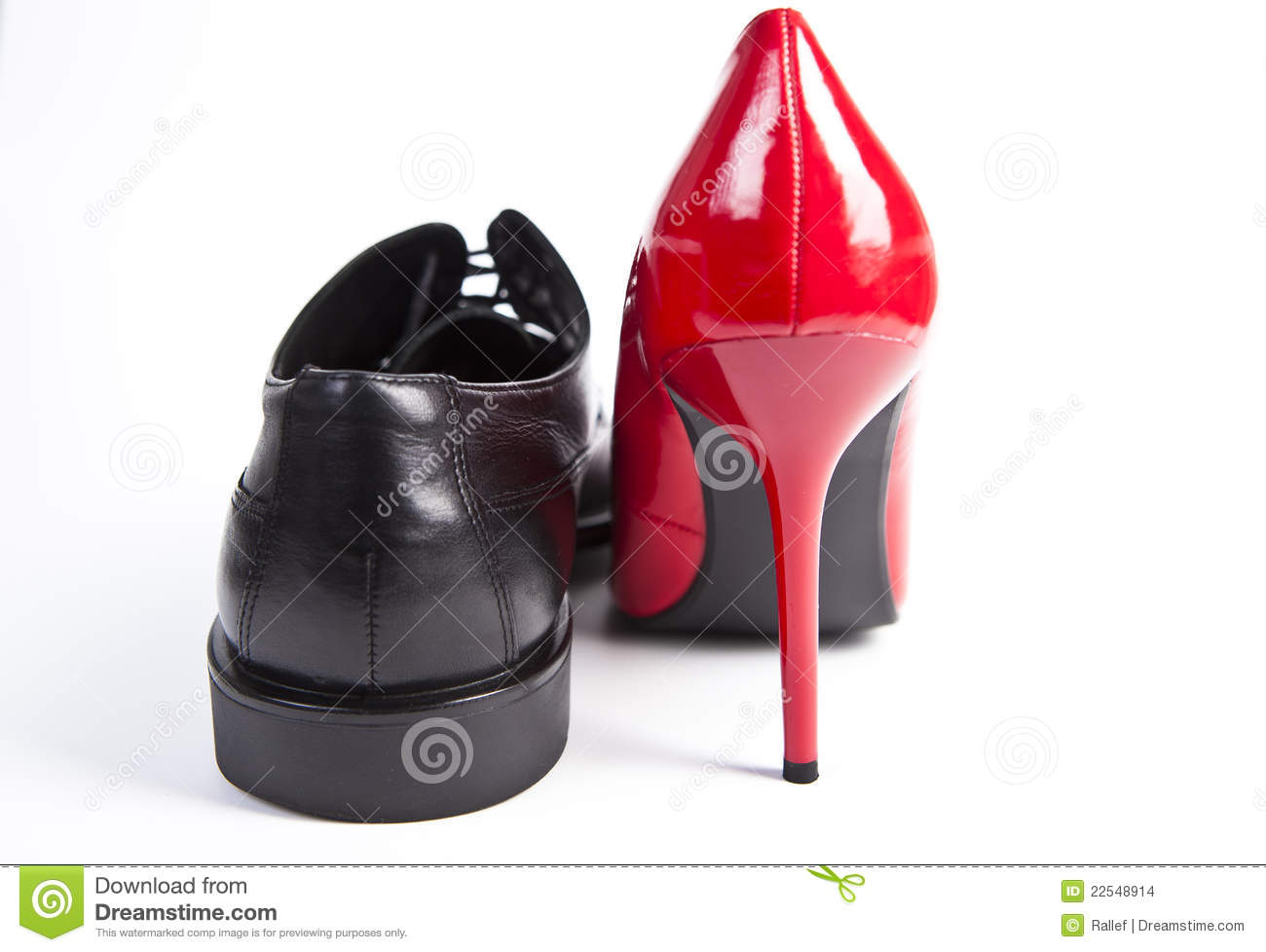 High Heels Hochzeit Red High Heel And A Black Mans Shoe Stock Photo Image Of