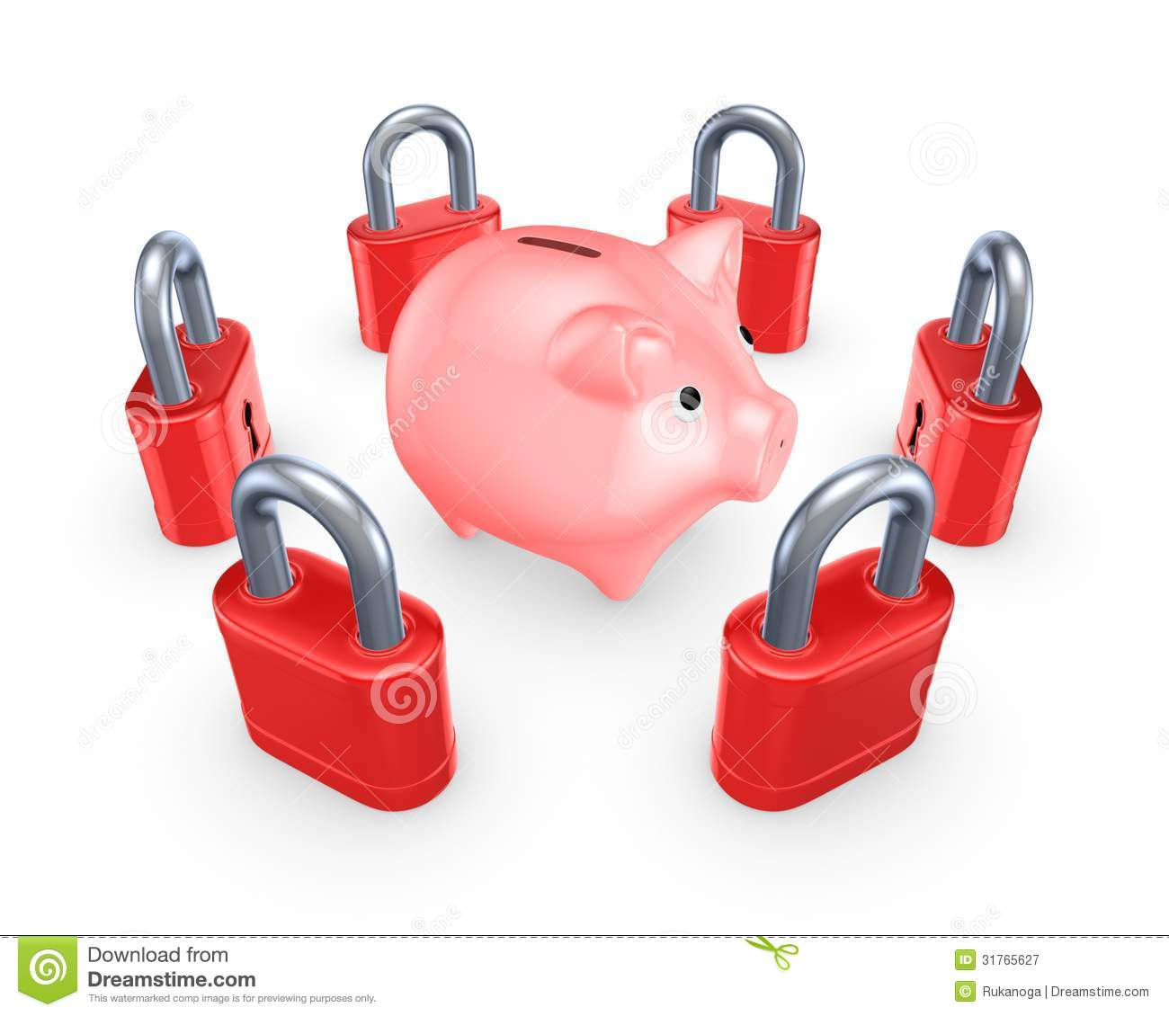 Piggy Banks With Locks Red Locks Around Pink Piggy Bank Royalty Free Stock