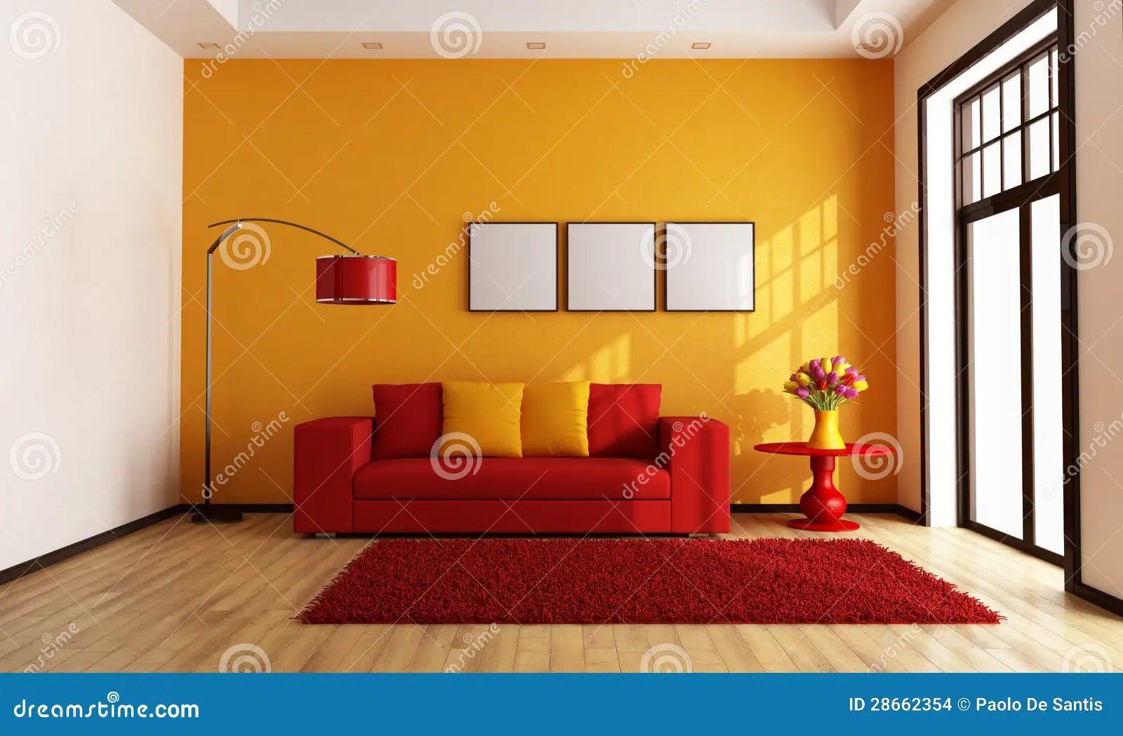 Orange curtain living room -  Living Modern Orange Red Room Download