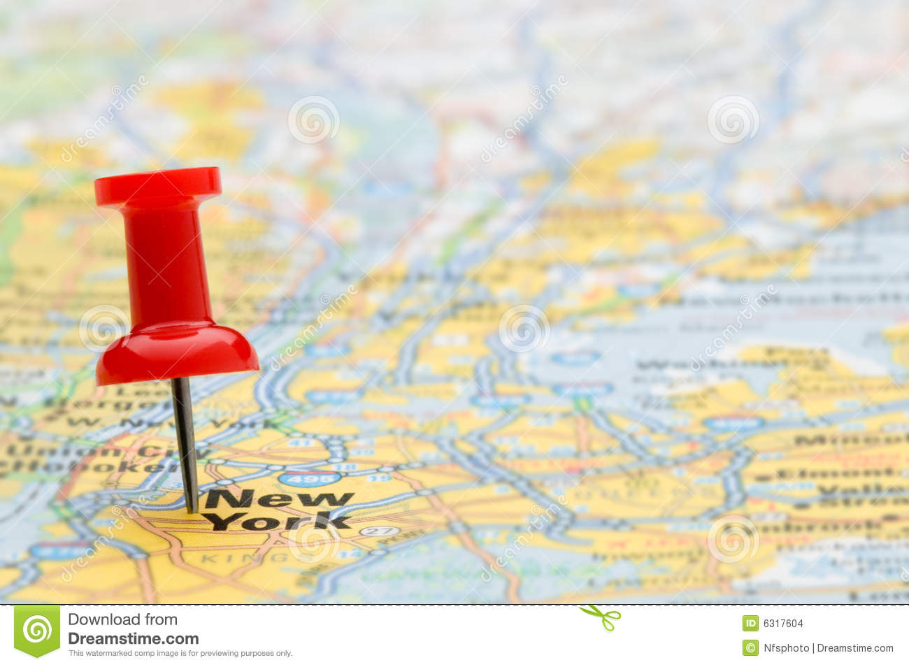 Manhattan Karte Red Pushpin Marking New York City On Map Stock Images
