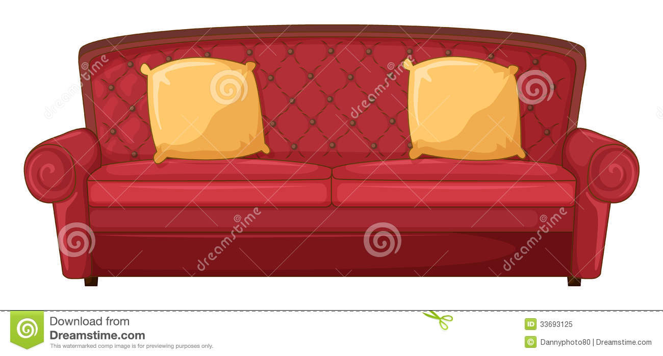6 Sofa Cushion Foam A Red Sofa And Yellow Cushions Royalty Free Stock Photo