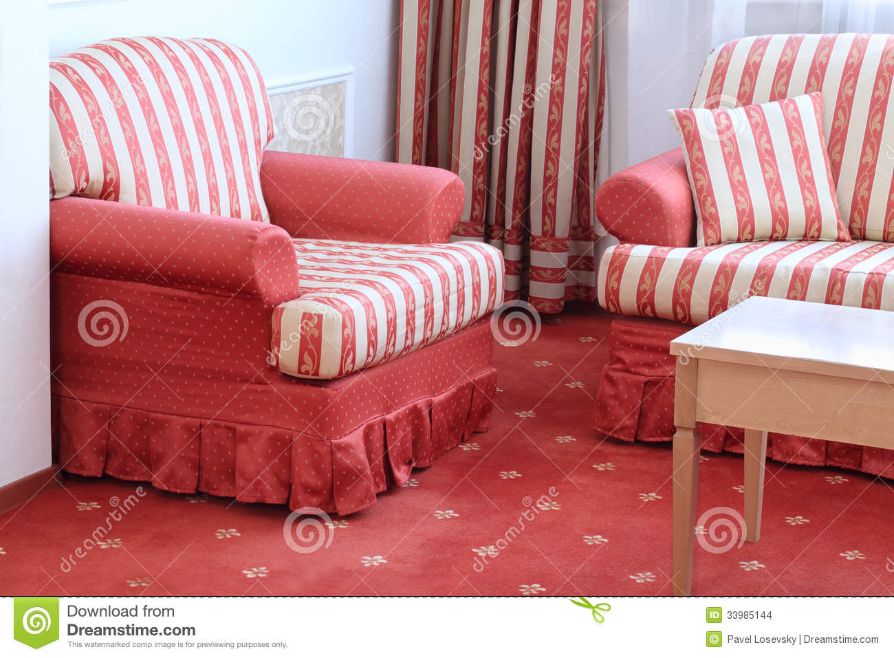 Red Striped Chair Red Striped Sofa With Pillow And Armchair Stock Images