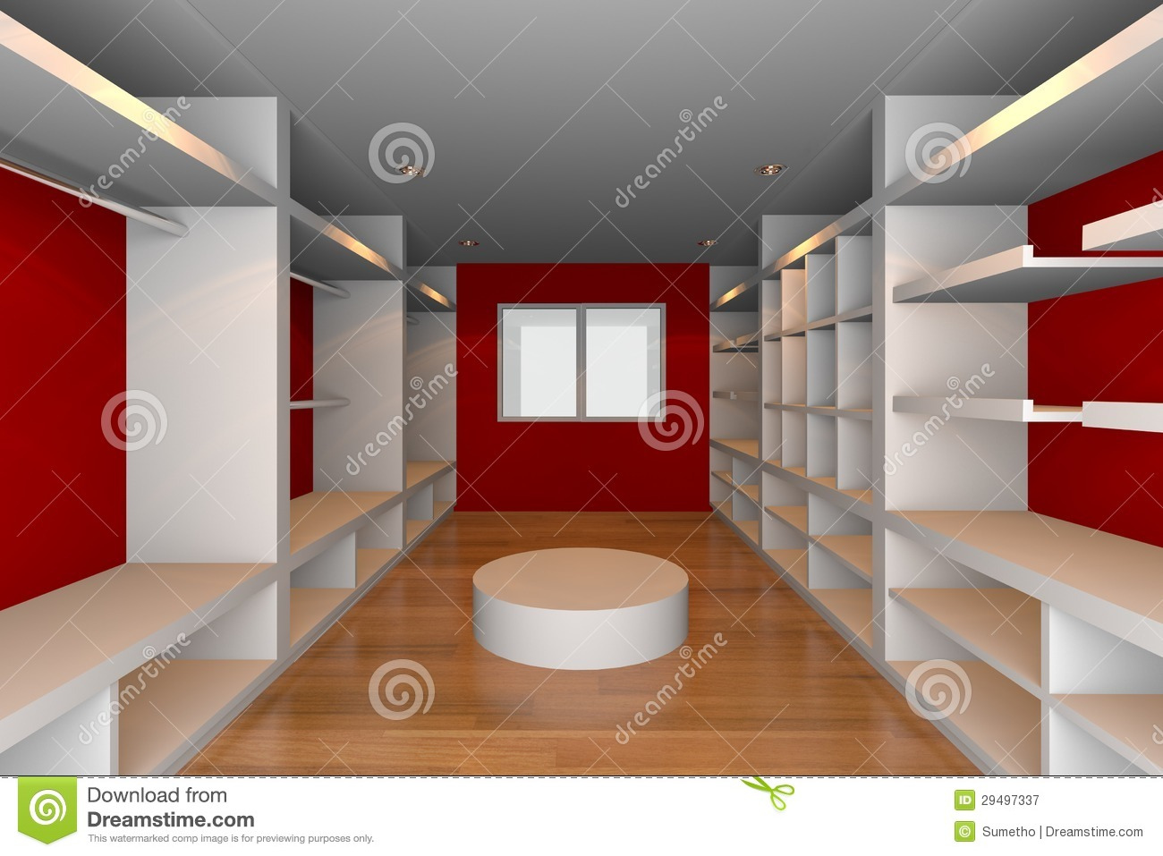Modern Floor Lamp Ideas Red Walk-in Closet Royalty Free Stock Photography - Image