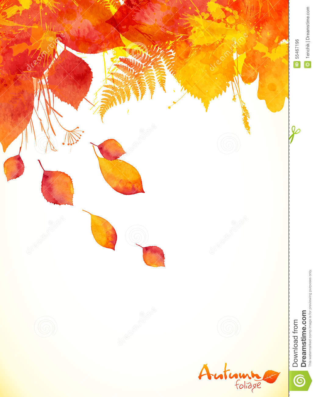 Fall Leaves Wallpaper Border Red Watercolor Autumn Leaves Fall Leaflet Stock Vector