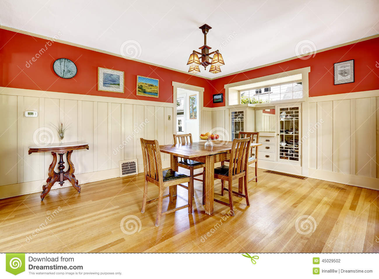 Red And White Dining Room Red And White Spacious Dining Room Stock Photo
