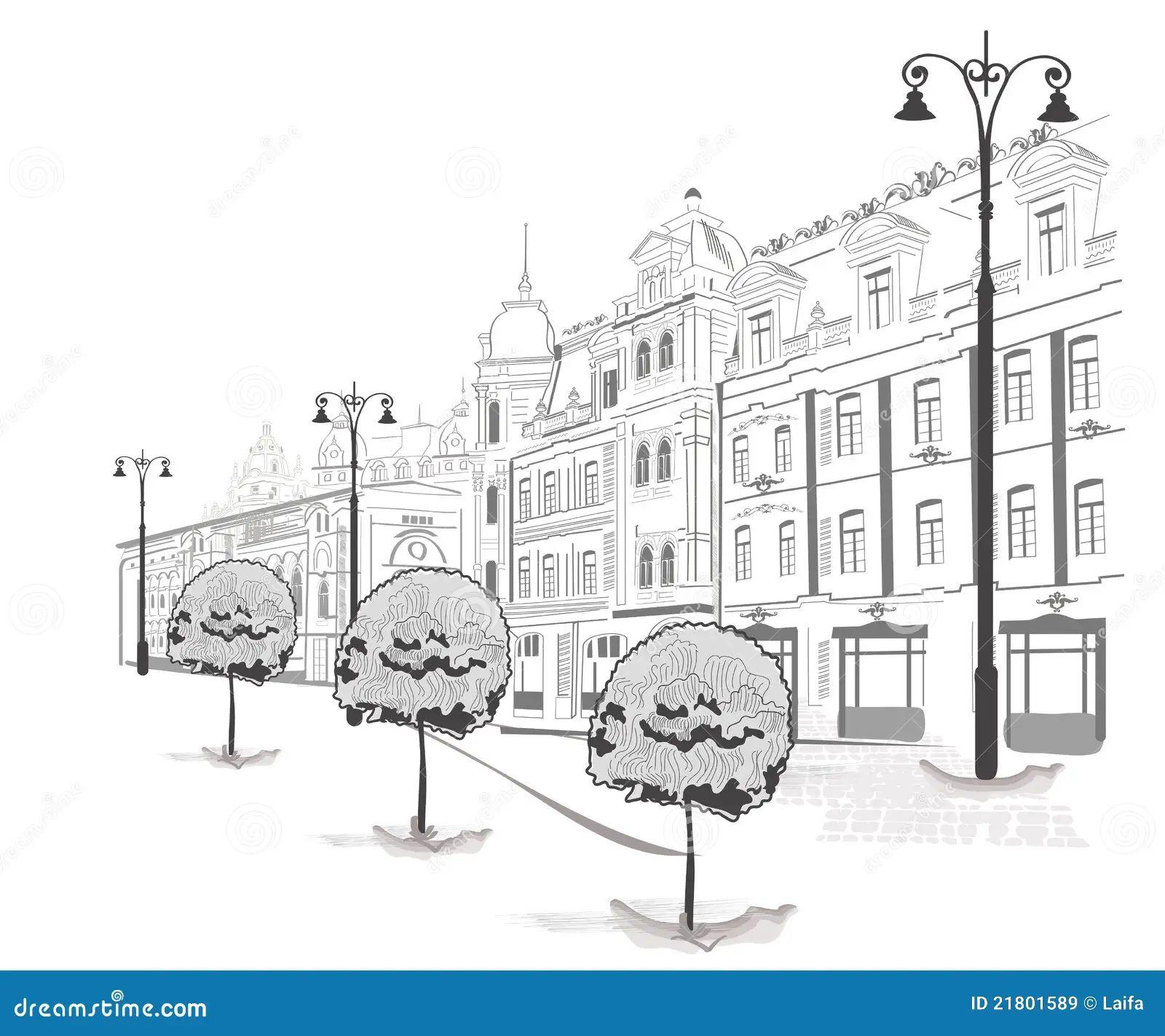 reeks schetsen van straten in oude stad royalty