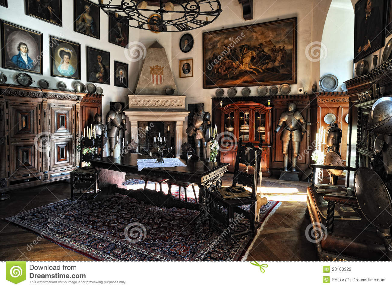 Furniture For Less Reichenstein Castle. Old Furniture In The Room Editorial