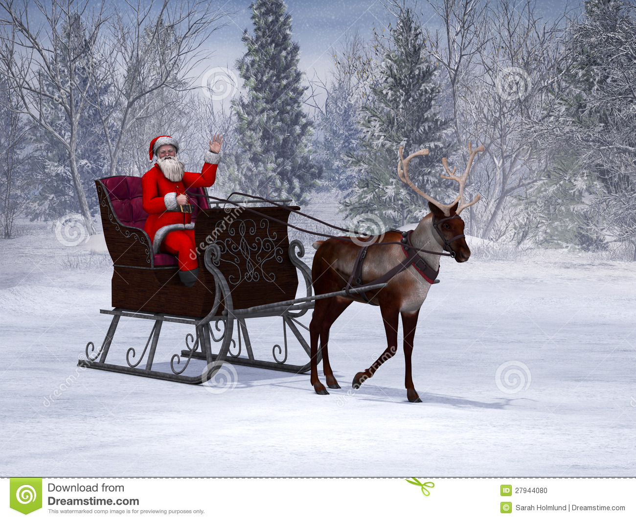 Santa Claus 3d Live Wallpaper And Screensaver Reindeer Pulling A Sleigh With Waving Santa Claus Stock