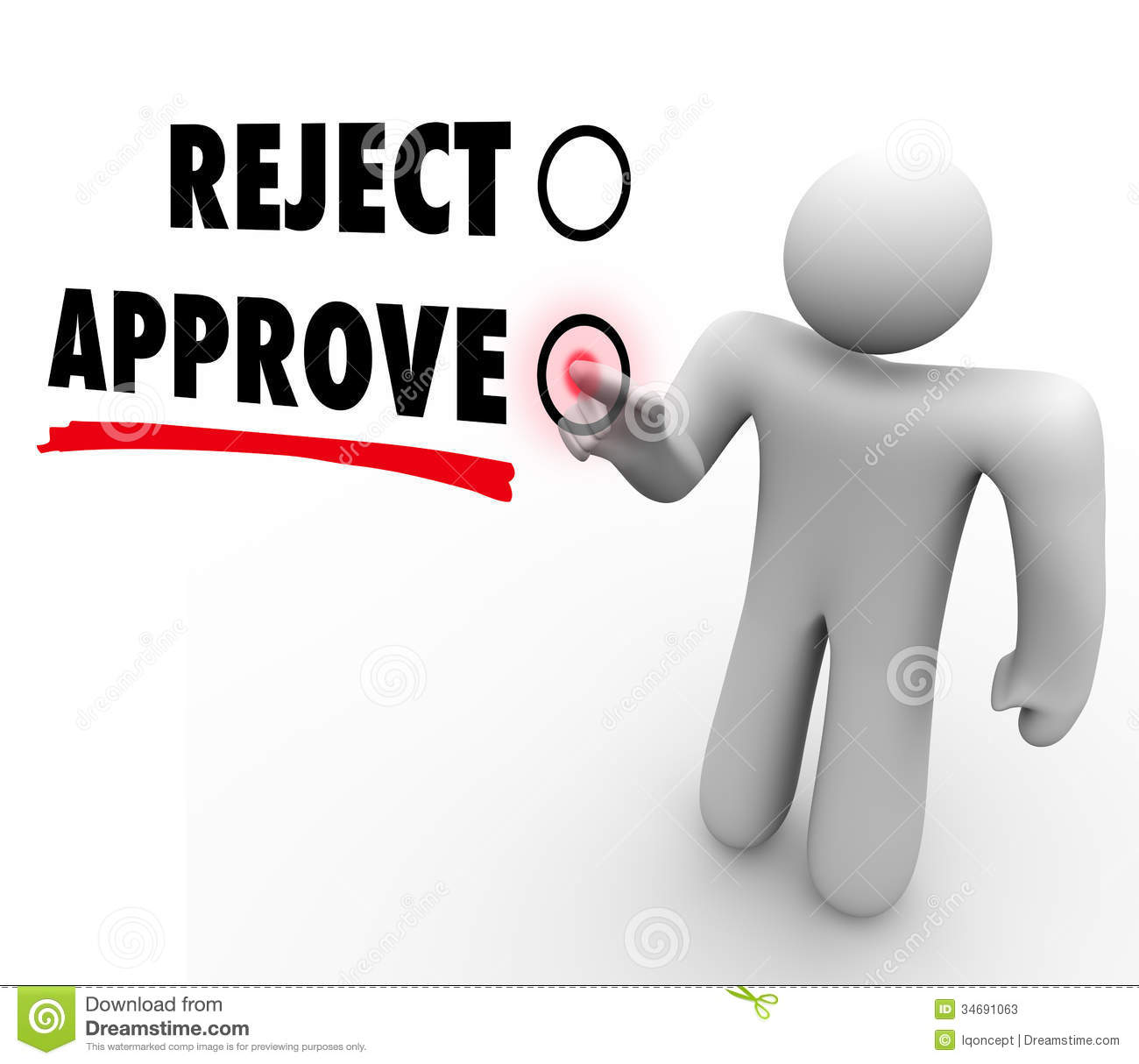 Cartoon Animation Wallpaper Free Download Reject Vs Approve Man Voting Touch Screen Response Stock