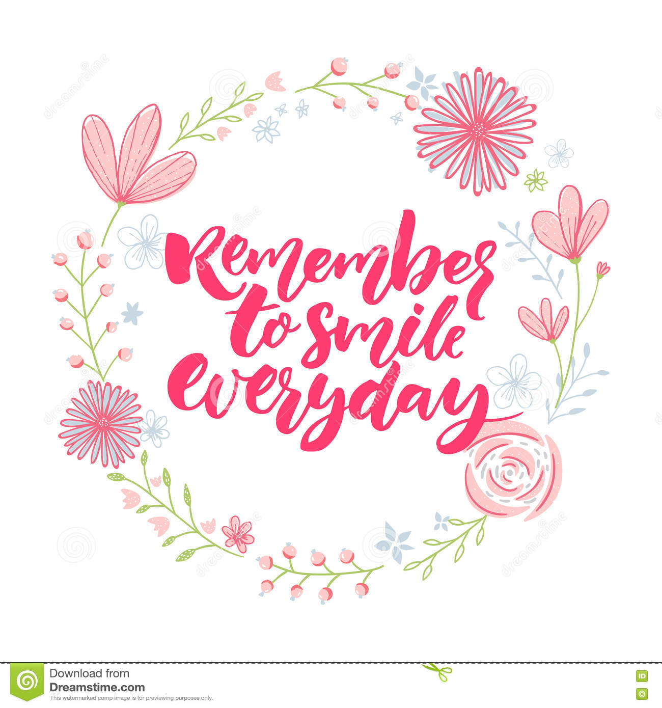 Floral Inspirational Quote Wallpaper Remember To Smile Everyday Inspirational Saying In Floral