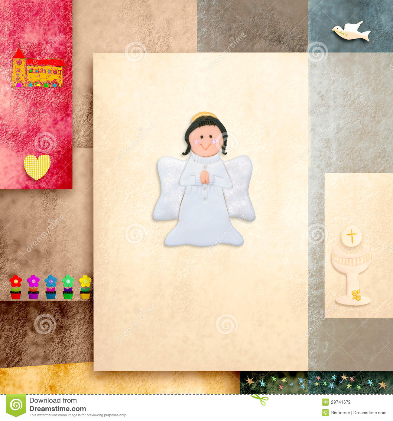 Modern Girl Wallpaper Free Download Cute Angel First Holy Communion Invitation Card Stock