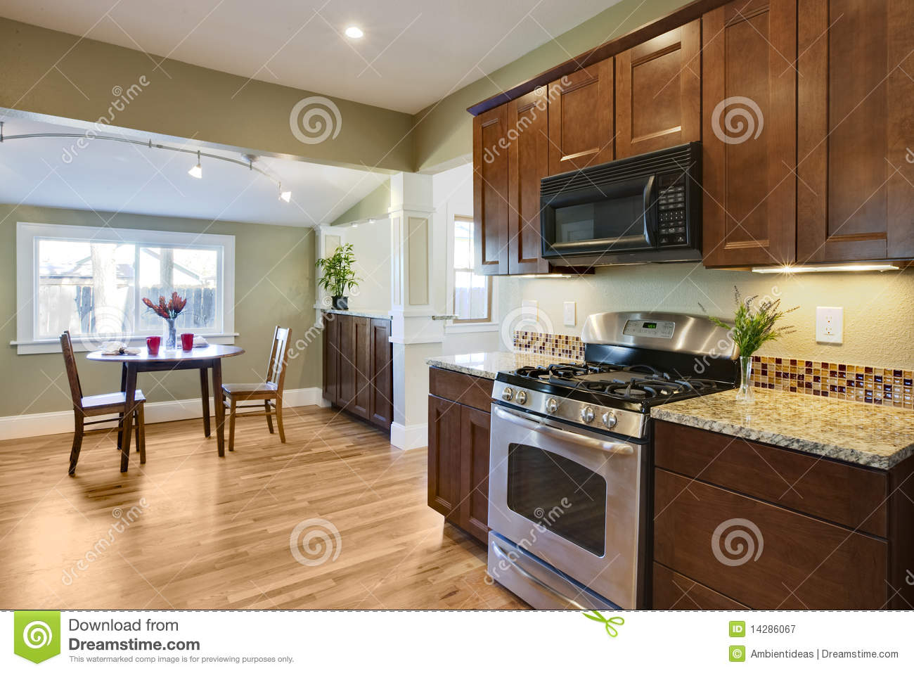 royalty free stock photography remodel kitchen wood flooring image wood floors in kitchen Remodel kitchen with wood flooring