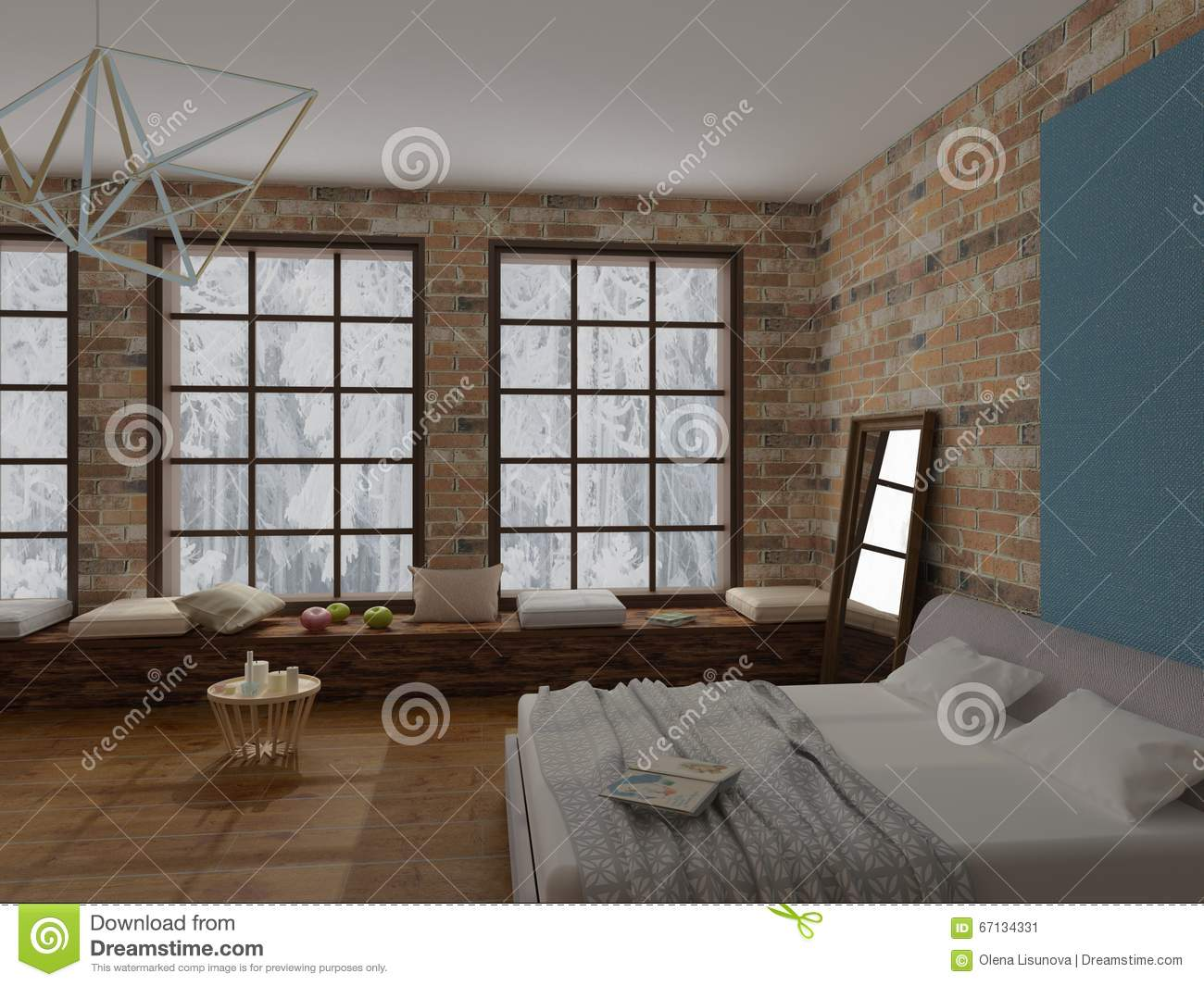 Loft Style Window Mirror Rendering Of Cozy Interior Of Bedroom In Loft Style With
