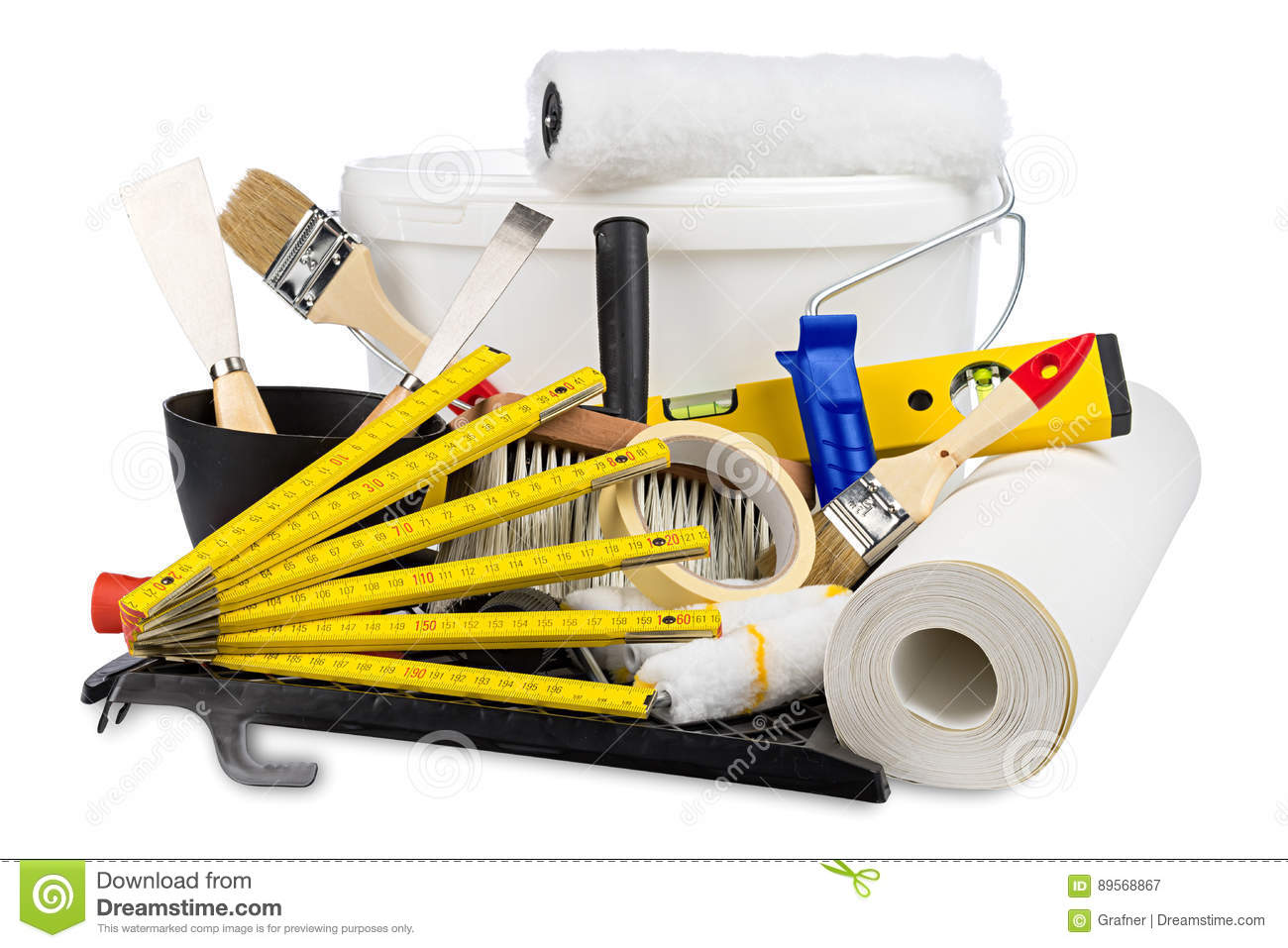 Renovation Decoration Renovation Decoration Diy Tools And Paint Bucket Stock Image