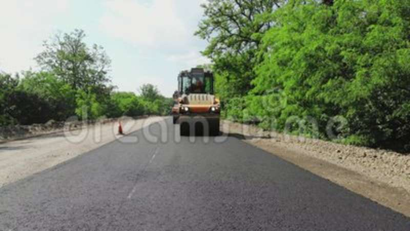 Repair Of A Highway, Roller Compactor Machine And Asphalt Finisher