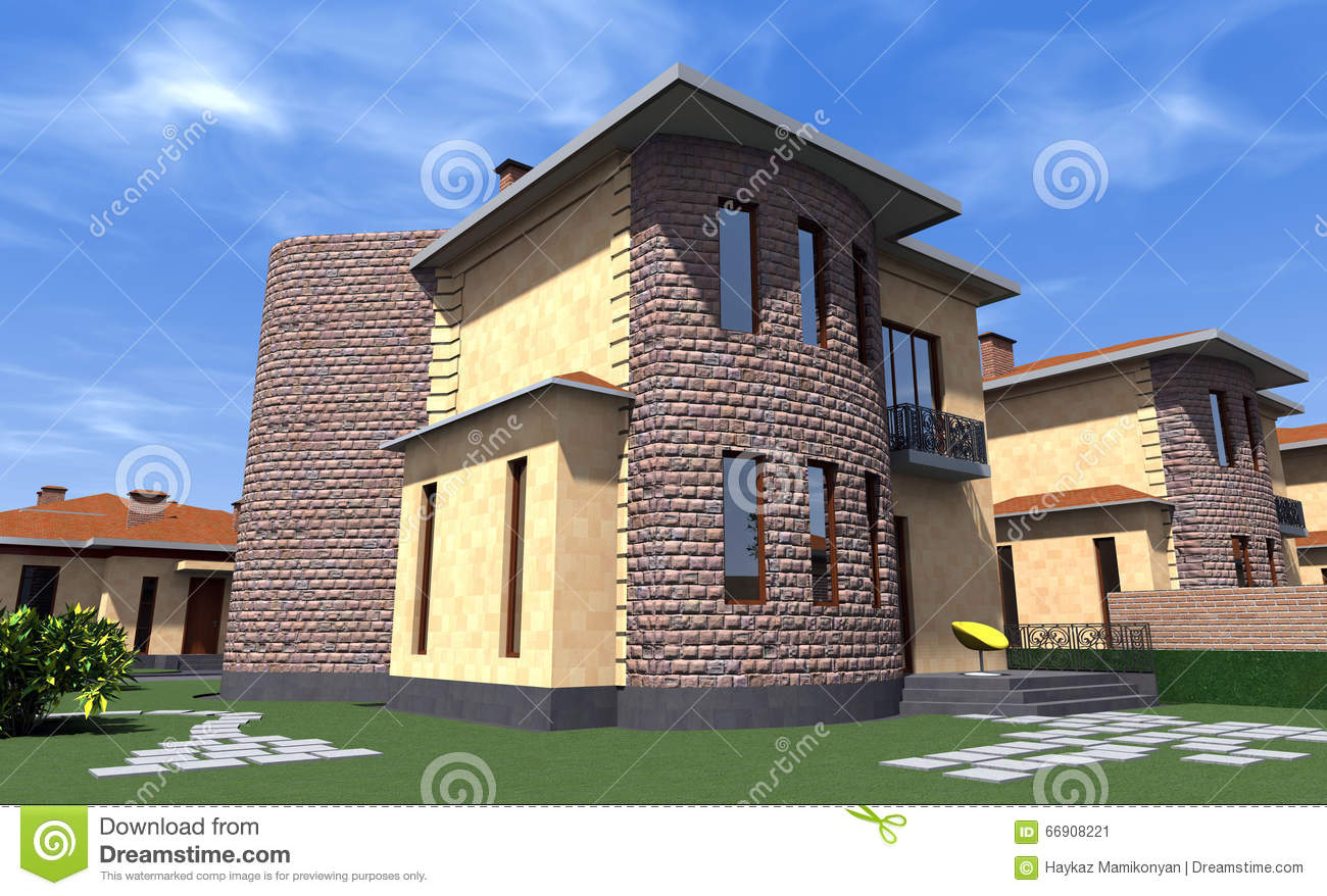 Haus Zeichnen 3d Kostenlos Residential House 3d Stock Illustration Image Of Programs