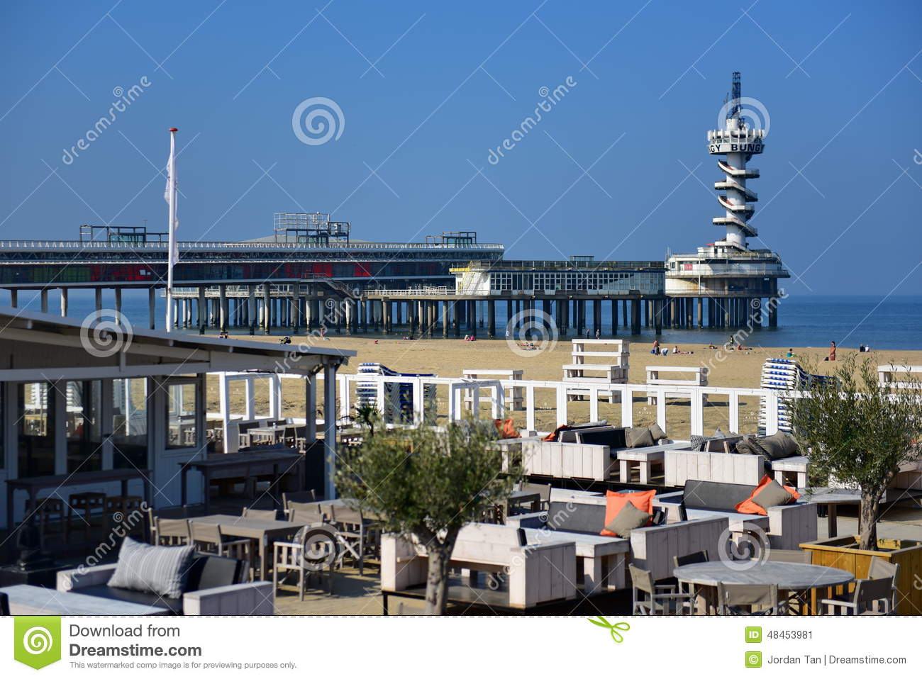 Scheveningen Beach Restaurants Restaurants And Pier Along The Sandy Beach Of Scheveningen