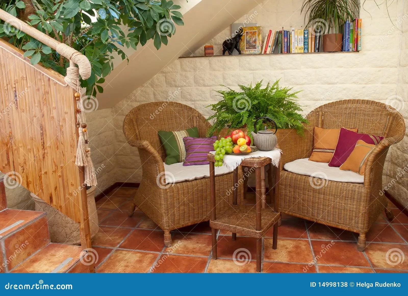Artistic Garden Furniture On Patio Royalty Free Stock