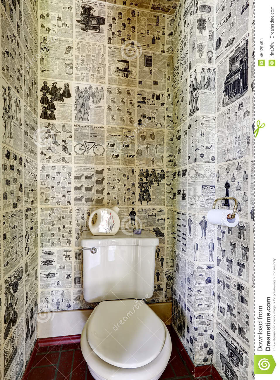 3d House Wallpaper Room Restroom Interior Design News Paper All Over The Wall