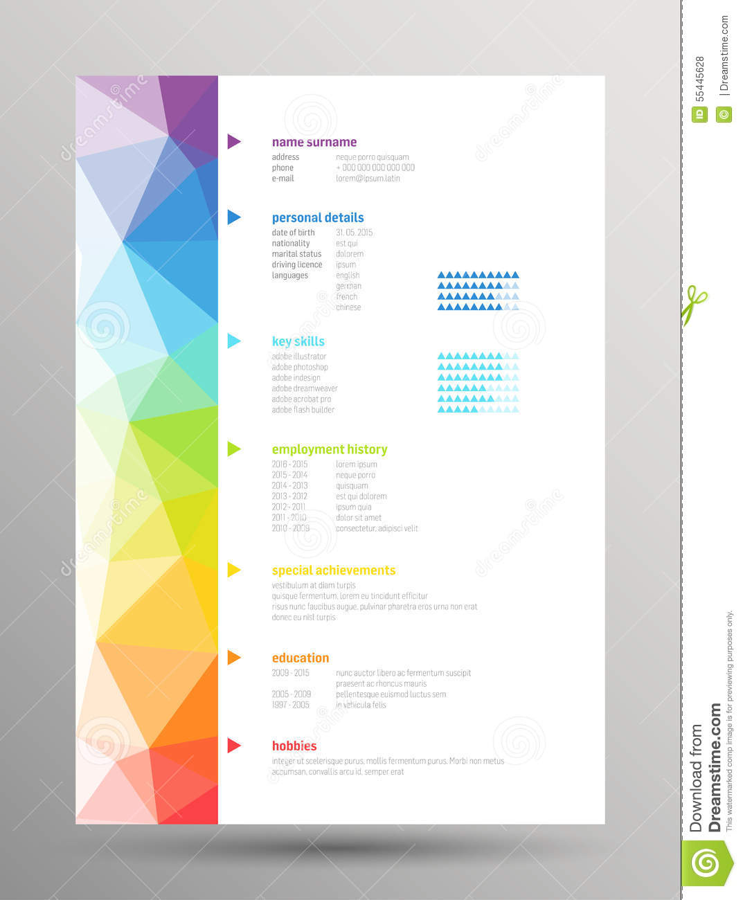 free resume templates print resume templates resume curriculum vitae stock vector image 55445628 - Free Resume Templates To Print