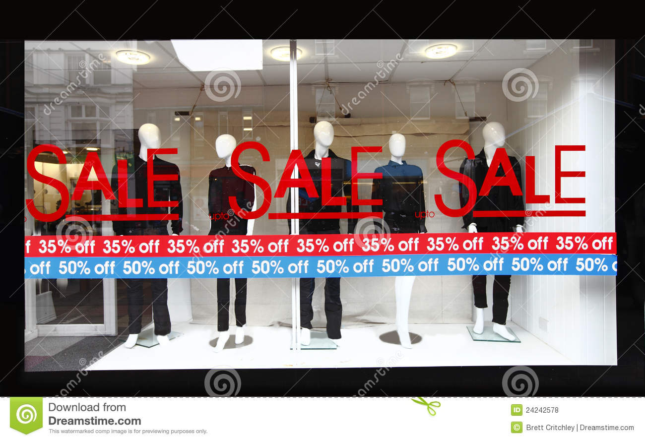 Windows On Sale Retail Shop Window Sale Sign Royalty Free Stock Photos