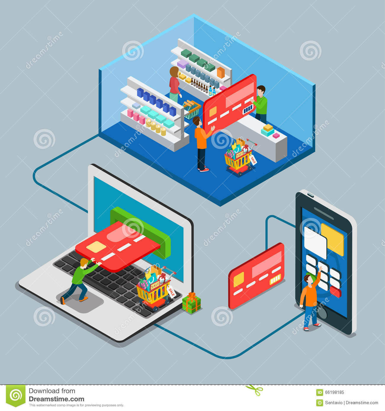 Online Shopping Mode Of Payment Flat Isometric Mobile Online Payment Concept Web