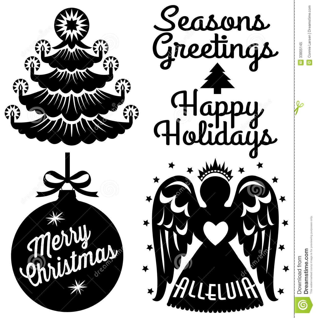 Christmas Ornament Clip Art Black And White Retro Christmas Clip Art Set Royalty Free Stock Photo