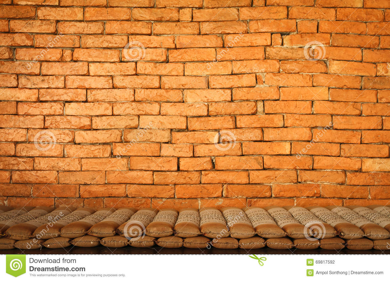 Retro Cushions Retro Cushions With Wall Brick Stock Photo Image Of Background