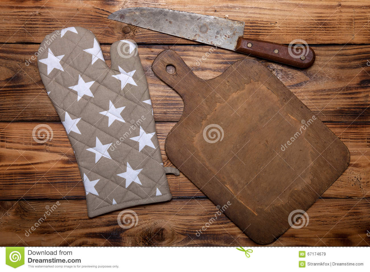Cutting Board With Knife Holder Retro Cutting Board Pot Holder And Knife On Old Wooden