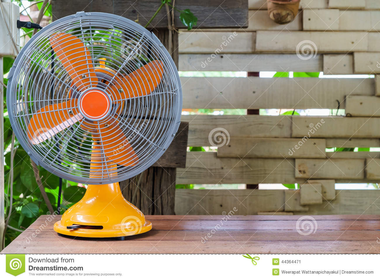 Wooden Electric Fan Retro Fan Stock Photo Image 44364471